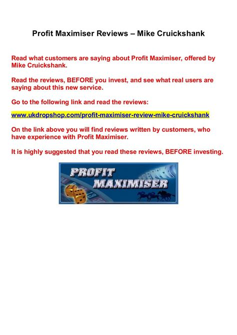 Profit Maximiser Reviews Mike Cruickshank Saving - Slideshare.