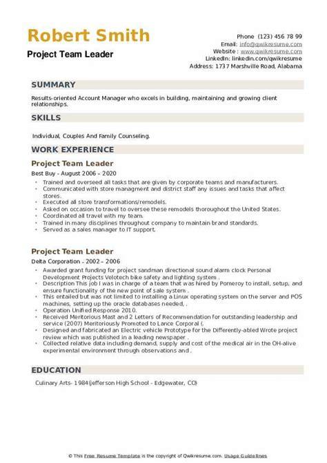 project team lead resume   simple cv outlineproject team lead resume