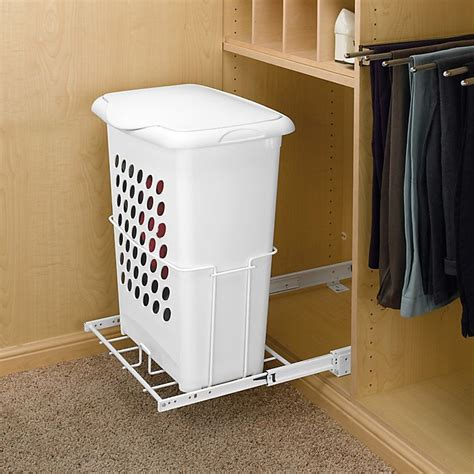 Pullout Hamper With Lid And Full Extension Slides White .