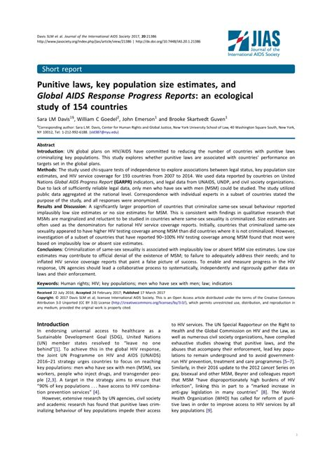 Punitive Laws, Key Population Size Estimates, And Global Aids.
