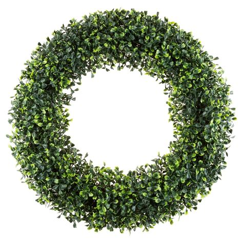 Pure Garden Round Artificial Boxwood Wreath 19 5 - Pure .