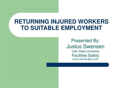 [pdf] Returning Injured Workers To Suitable Employment.