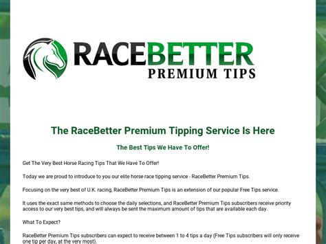 @ Racebetter  S Premium Horse Racing Tips .