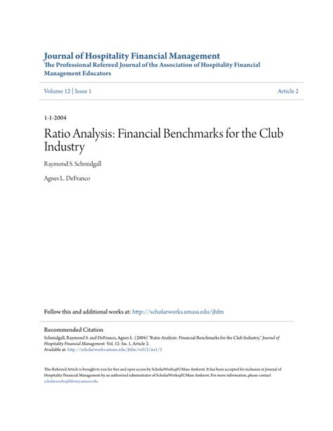 [pdf] Ratio Analysis Financial Benchmarks For The Club Industry.