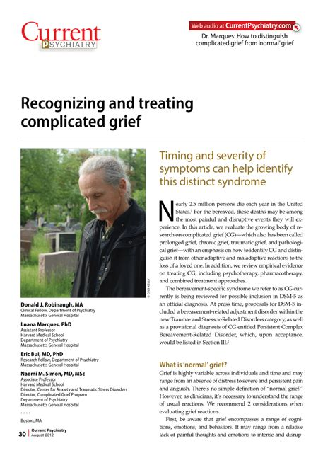 [pdf] Recognizing And Treating Complicated Grief.