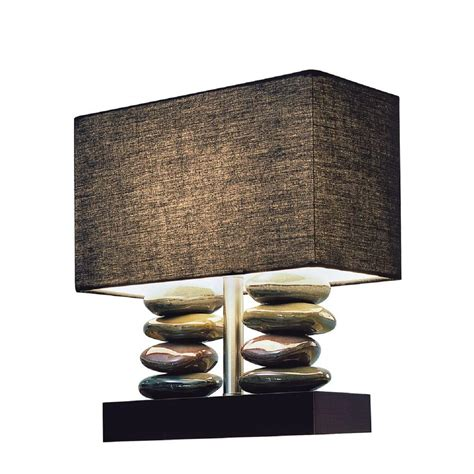 Rectangular Dual Stacked Stone Ceramic Table Lamp With .