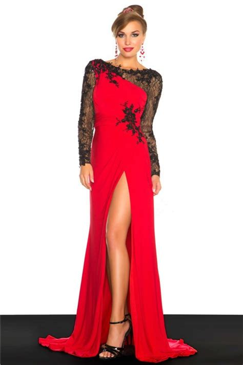 Galerry lace dress red and black