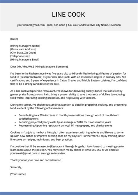 resume cover letter for cook cook cover letter