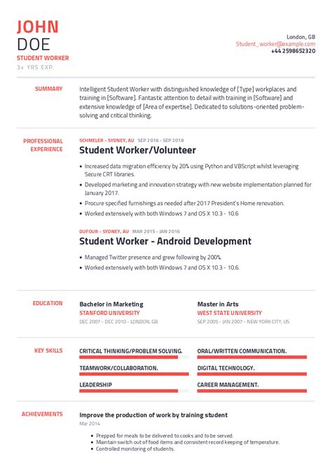 resume format examples students