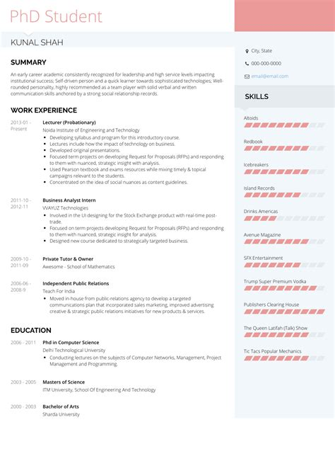 Resume to apply for phd program