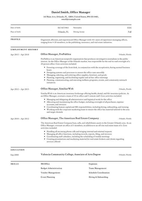 Office Manager Resume samples   VisualCV resume samples database Office Assistant Resumes Sample Resume For Senior Administrative Office  Admin Resume Format Front Office Manager Resume
