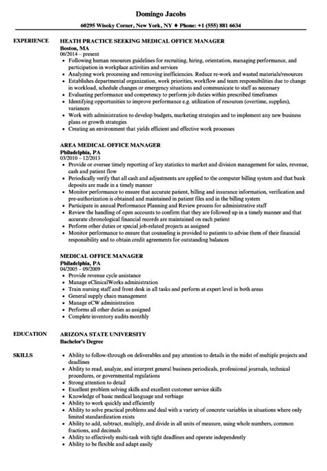 resume template for medical practice manager