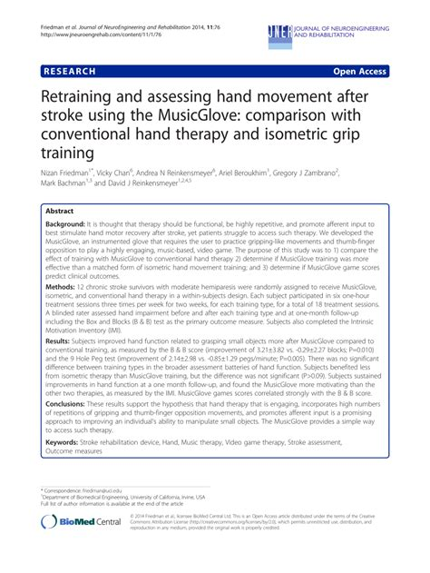 [pdf] Retraining And Assessing Hand Movement After Stroke Using .