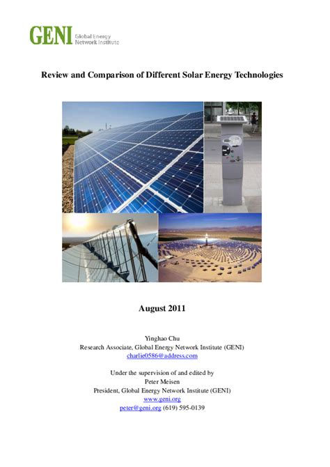 [pdf] Review And Comparison Of Different Solar Energy Technologies.