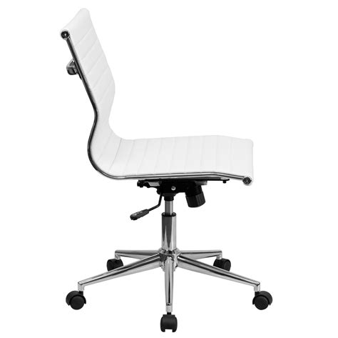 Ribbed White Leather Mid Back Conference Chair By Lemoderno.