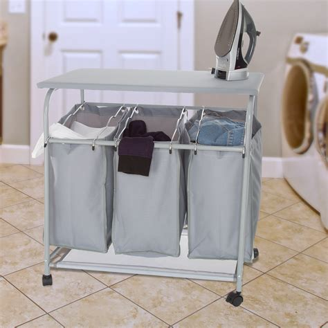 Rolling 3-Bin Laundry Sorter And Ironing Station Gray.