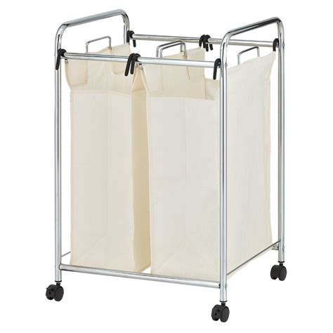 Rolling Laundry Cart Chrome   Laundry Sorter.
