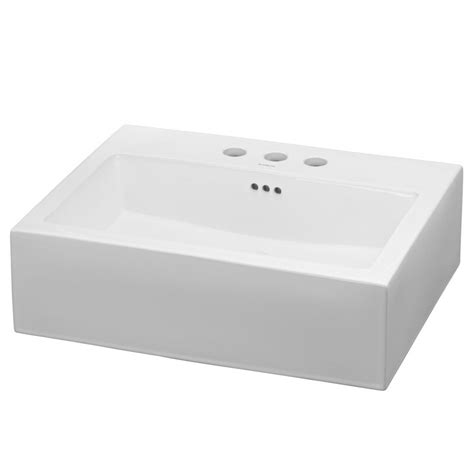 Ronbow Groove Ceramic Rectangular Vessel Bathroom Sink .