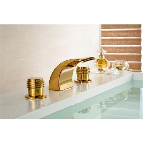Round Dual Handle Gold Chrome Deck Mount Waterfall .