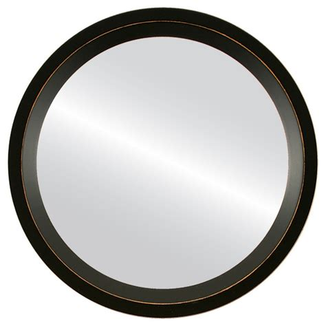Round Framed Mirror 421 Huntington Rubbed Black Finish.