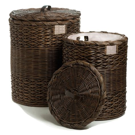Round Wicker Laundry Hamper - The Basket Lady.