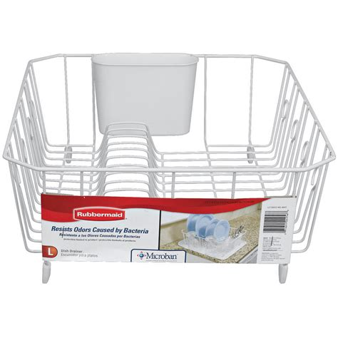 Rubbermaid Antimicrobial Dish Drainer Large White .