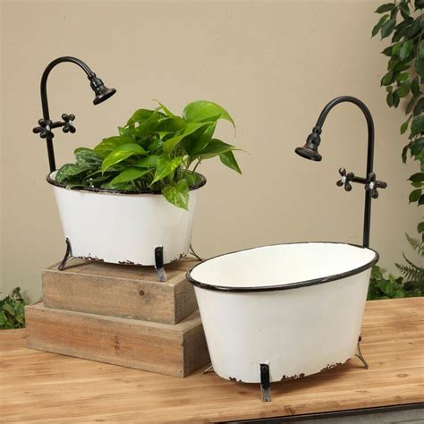 Rustic Metal Tub Planter Outdoor Decor  Bizrate.