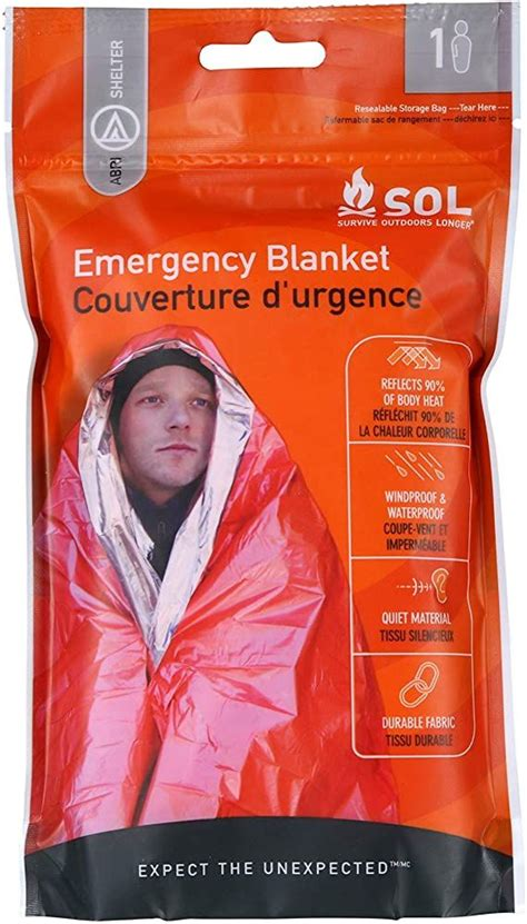 S O L Survive Outdoors Longer Emergency Blanket Shelter Kit.