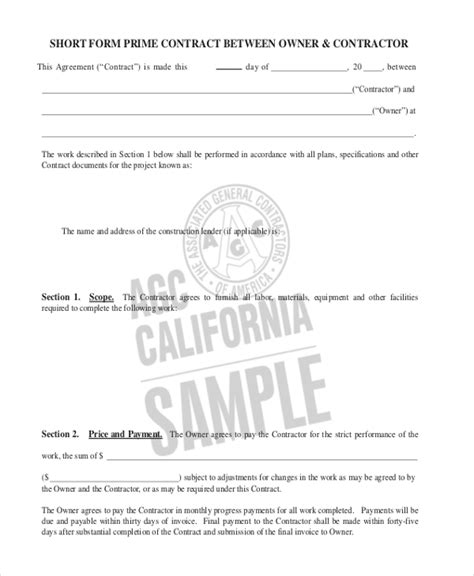 [pdf] Short Form Prime Contract Between Owner  Contractor - Agc.