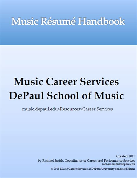 [pdf] Som Music Resume Handbook - Depaul University.