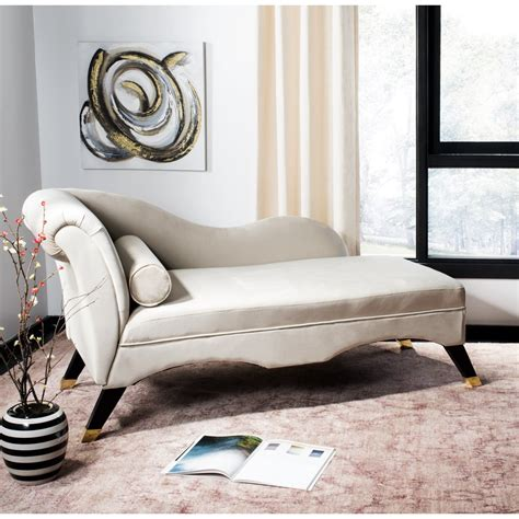 Safavieh Furniture Caiden Velvet Chaise With Pillow .
