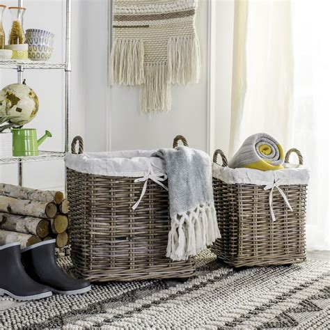 Safavieh Safavieh Amari Rattan Square Hamper Baskets With .
