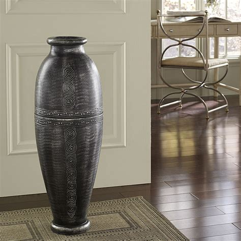 Sale  Antique Silver Floor Urn Vase Indonesia - G2kjhnn.