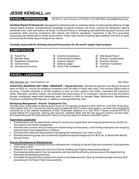 sample professional written resume