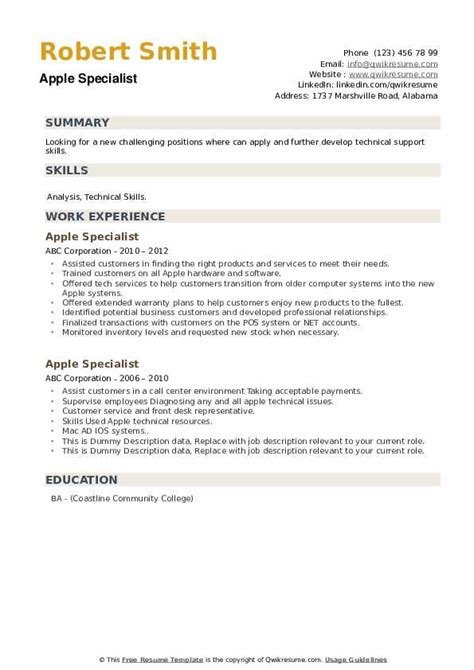 sample resume for apple specialist