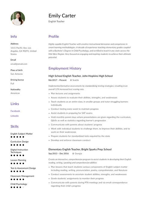 resume examples analyst sample resume for english tutor - English Tutor Sample Resume