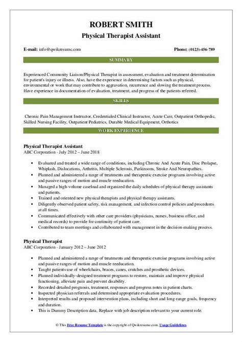 sample resume resume for physical therapist middot template    sample resume for physical therapist in philippines