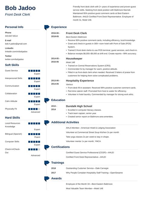 sample hospitality resumes