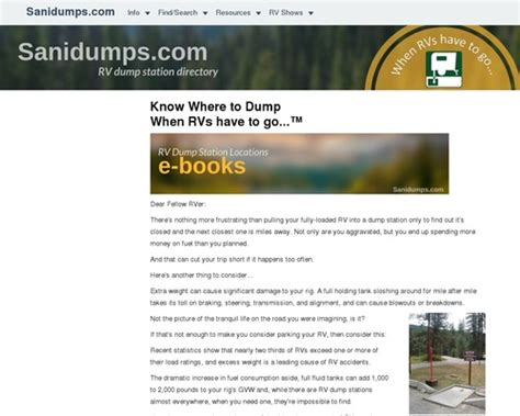 Sanidumps: Order Ebooks For Rv Dump Stations - Nerdsavingexperts.