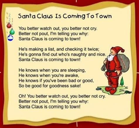 Santa Claus Is Coming To Town (lyrics - Children Version) - Youtube.