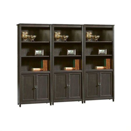 Sauder Edge Water Library Wall Bookcase In Estate Black .