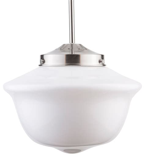 Scolare Led Schoolhouse Pendant - Black W Clear Glass .