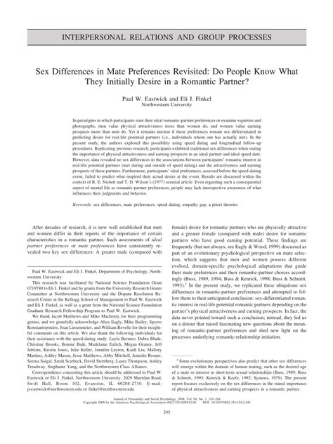 [pdf] Sex Differences In Mate Preferences Revisited Do People .