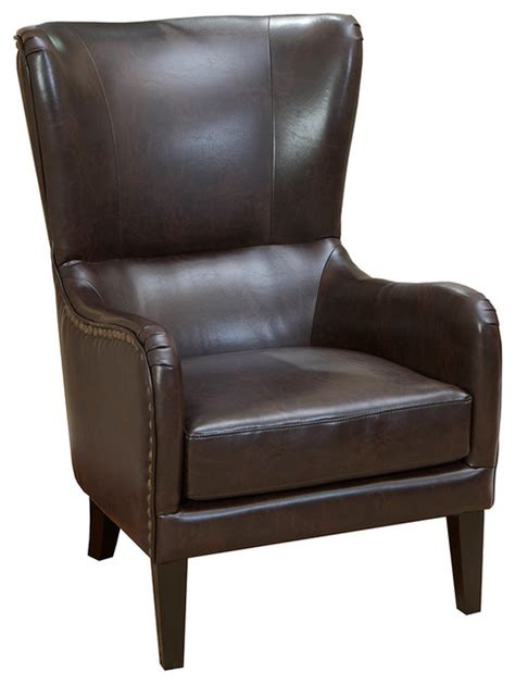 Shop Clarkson Leather Wingback Club Chair Brown.