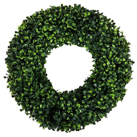 Shop Pure Garden Boxwood Wreath - 16 5 Inch Round - On .