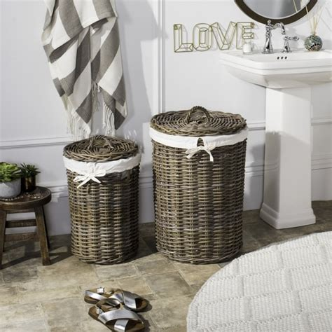 Shop Safavieh Millen Rattan Round Laundry Baskets Set Of .