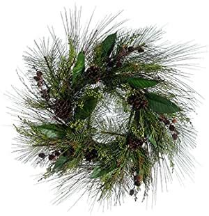 Silk Plants Direct Holly Cedar And Berry Wreath Pack Of 1 .