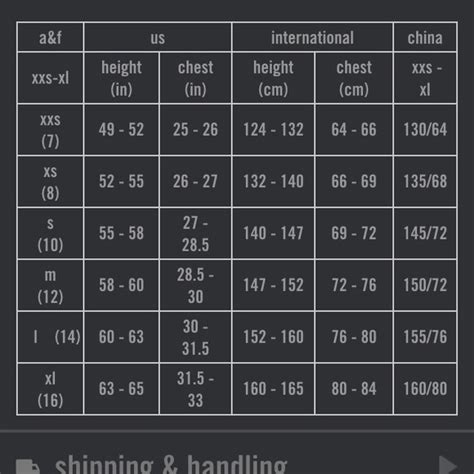 Size Chart - Abercrombie & Fitch.
