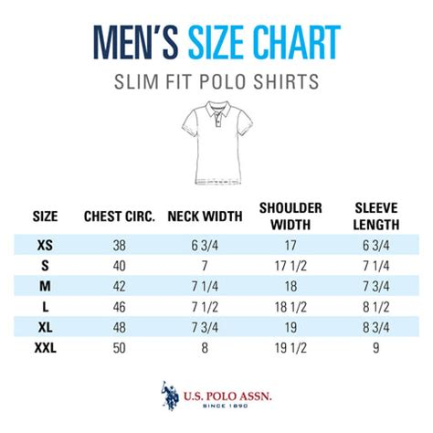Size Guide - Mens Tops - U.s. Polo Assn..