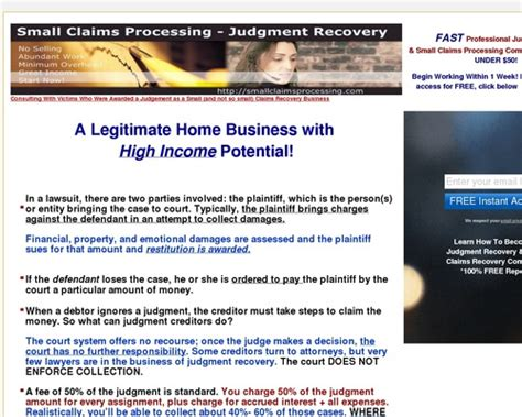[click]small Claims Recovery - Judgment Recovery Instruction.